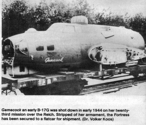 B17g 'Gamecock' on german flatcar.jpg
