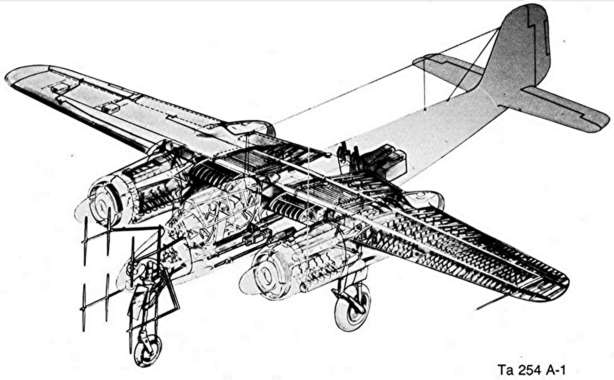 Ta 154 A-1  W.Nr. 160791 codé 4R+GN de la 5/NJG-2  (Revell & Verlinden 1/48) - Page 2 Focke-wulf-ta-154-cutaway-jpg
