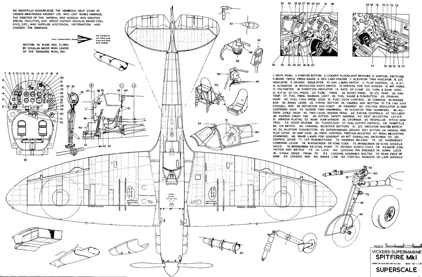 spitfire airplane schematics or drawings