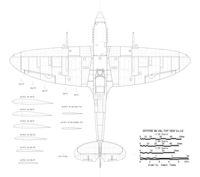 spitfire mk viii schematic with riveting aircraft of world war ii  spitfireviii72jt_8 jpg